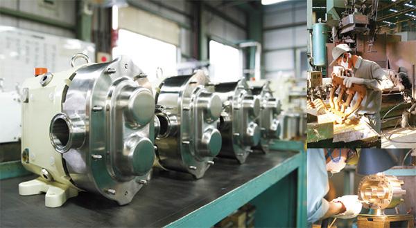 ロータリーポンプの一貫生産体制を築いているのは同社のみ。