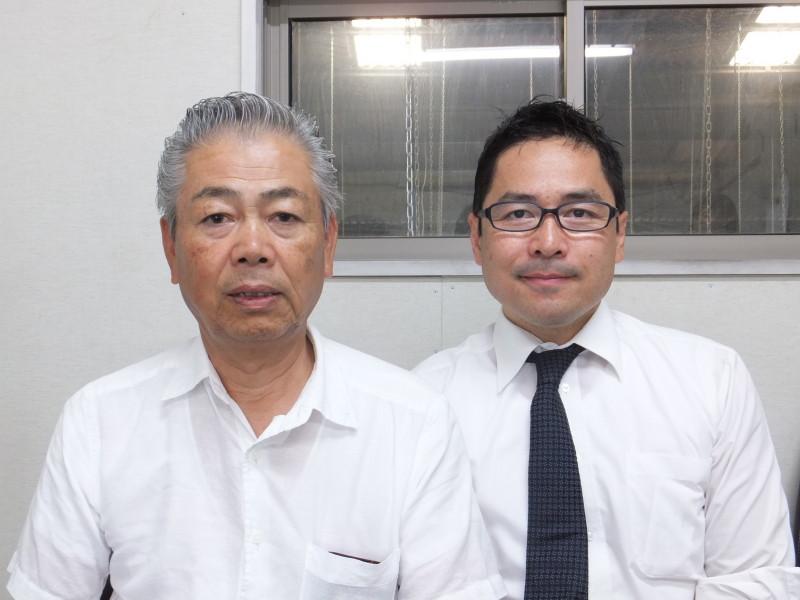 向高工業株式会社 代表取締役 向高 輝夫氏(右) 大阪産業創造館 ナビゲーター 西谷 憲一氏(左)