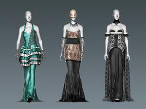 ドレスを着用した人間の動きに合わせてシルエットや布地の光沢がどう変化するのかをシミュレーションできる。