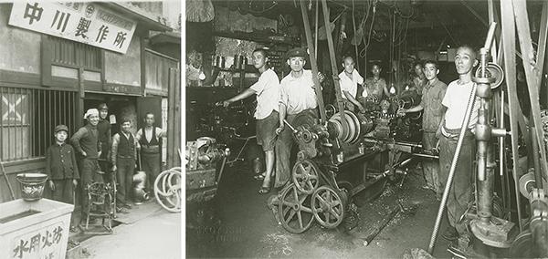 同社の歴史を物語る写真。「ご先祖さんの写真が出てきたとき、『もっと頑張れよ』と励まされているようでゾクッとしました」と裕之社長。