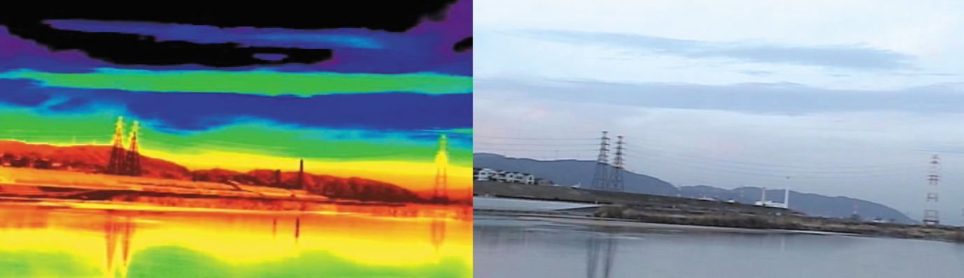 赤外線サーマルカメラの画像。温度の差を画像にして可視化する。