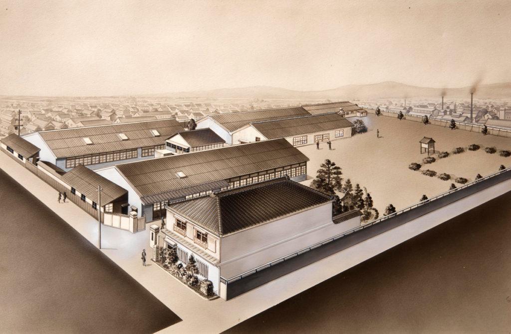 戦前に描かれた工場全景。