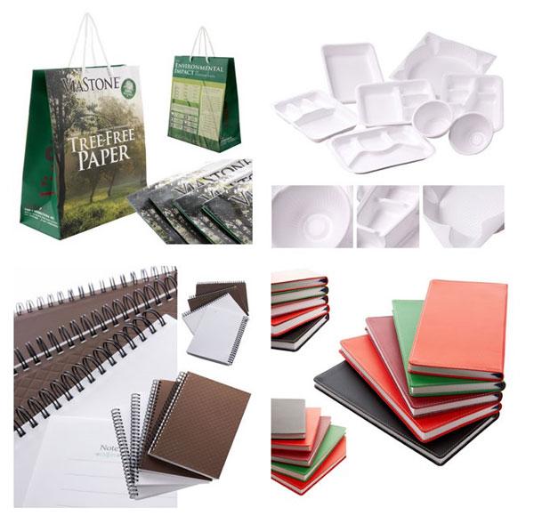 「Stone-Sheet」を使った各種商品。環境に優しい手提げ袋やボトルなど、企業からのオーダーを受けて開発・商品化を図っている。